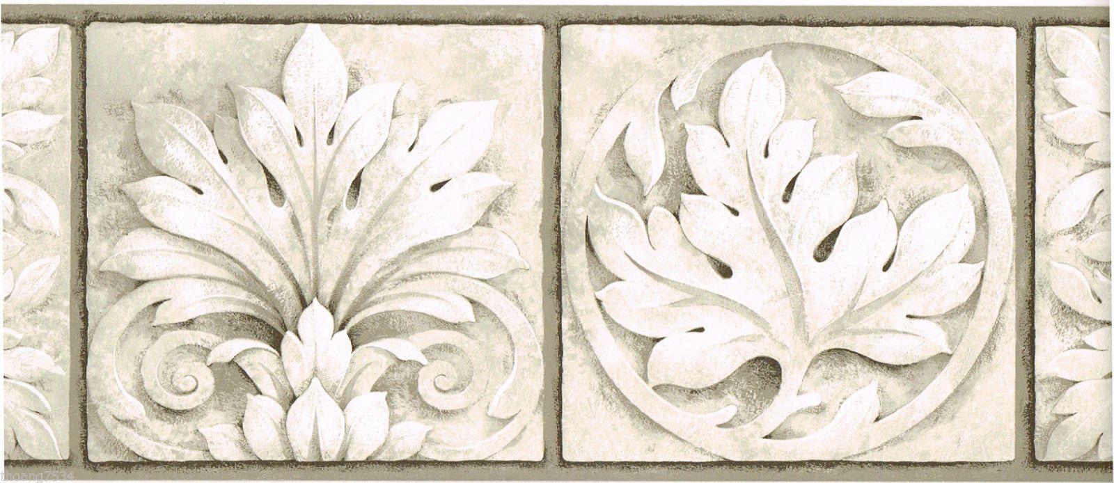 Architectural Grey Taupe Cream Beige Leaf Rosette Frame