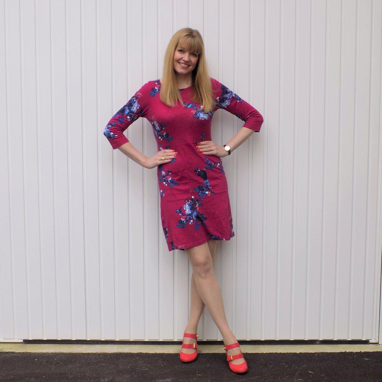 5ba90d839fe2 Bright Pink Floral Dress with Orange Shoes. Pink dress, day dress, smart  dress, jersey dress, bright dress