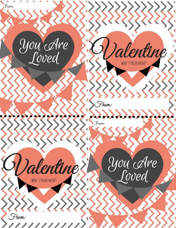 PRINTABLE Valentines Cards Chevron Coral and by DearheartPandD
