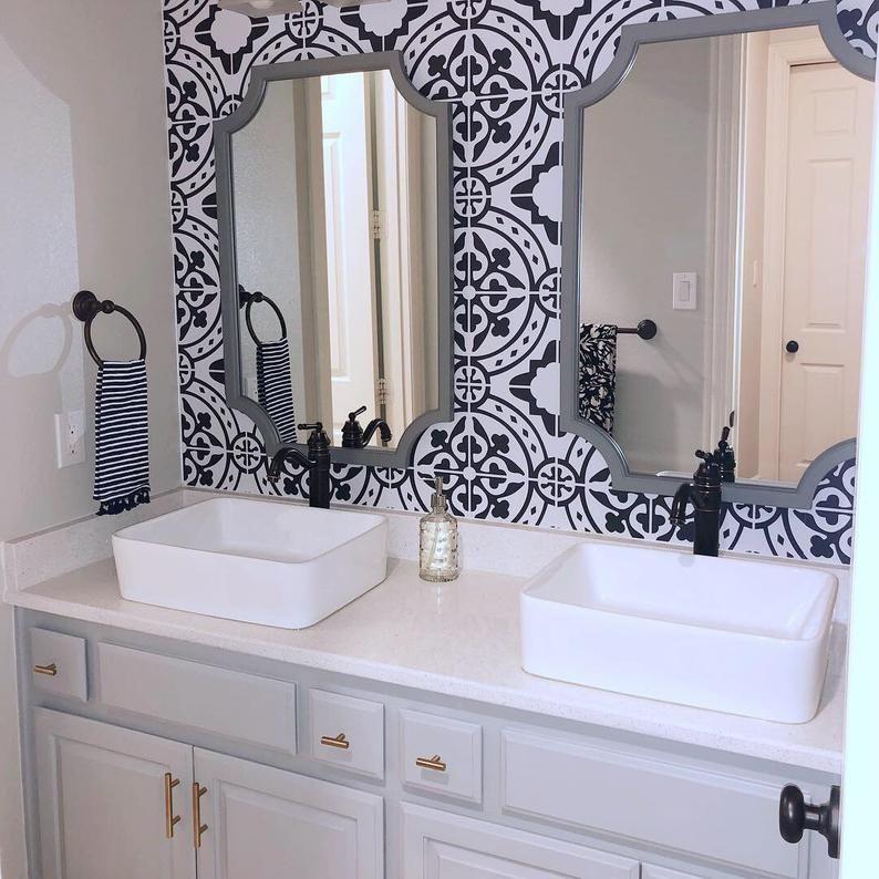 Moroccan Tile Peel And Stick Wallpaper Removable Wallpaper Etsy Bathroom Wallpaper Modern Small Bathroom Bathrooms Remodel