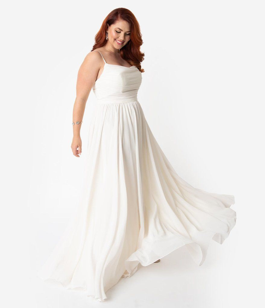 Plus Size Cream Chiffon Gathered Sleeveless Long Dress ...