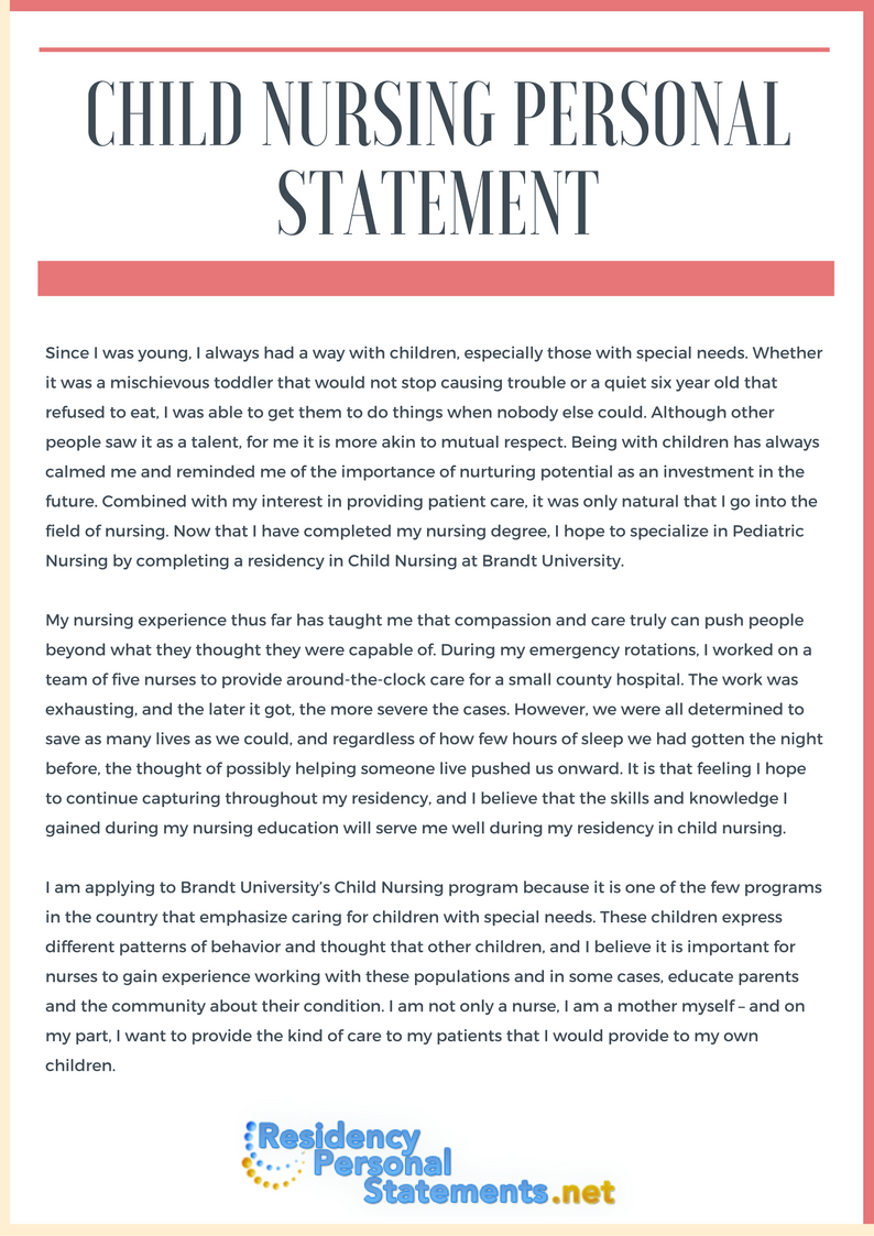 Write A Perfect Child Nursing Personal Statement With This Sample