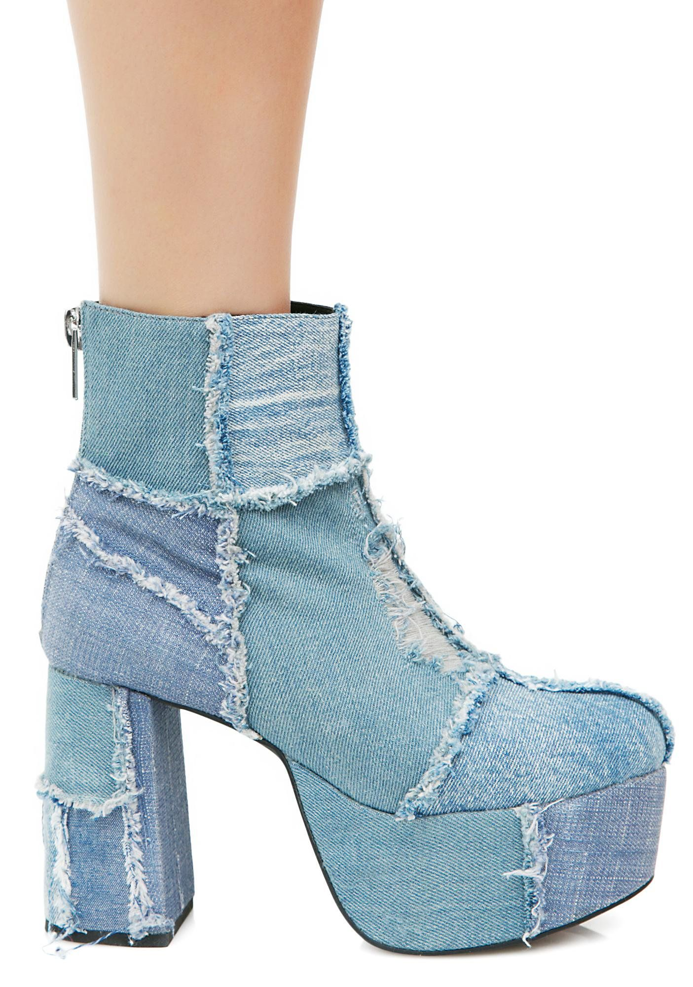 22e5810d8aa7 Current Mood Rad Doll Denim Boots life izn t always what it seams… These  lil  platform booties have a frayed patchwork design with a thick heel and  zipper ...