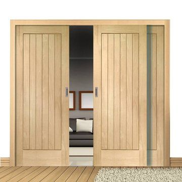 A free delivery is standard these Easi-Slide Suffolk Oak sliding doors incorporating a frame and track set with fixed side insets. & Easi-Slide OP2 Oak Suffolk Flush Sliding Door System in Four Size ...