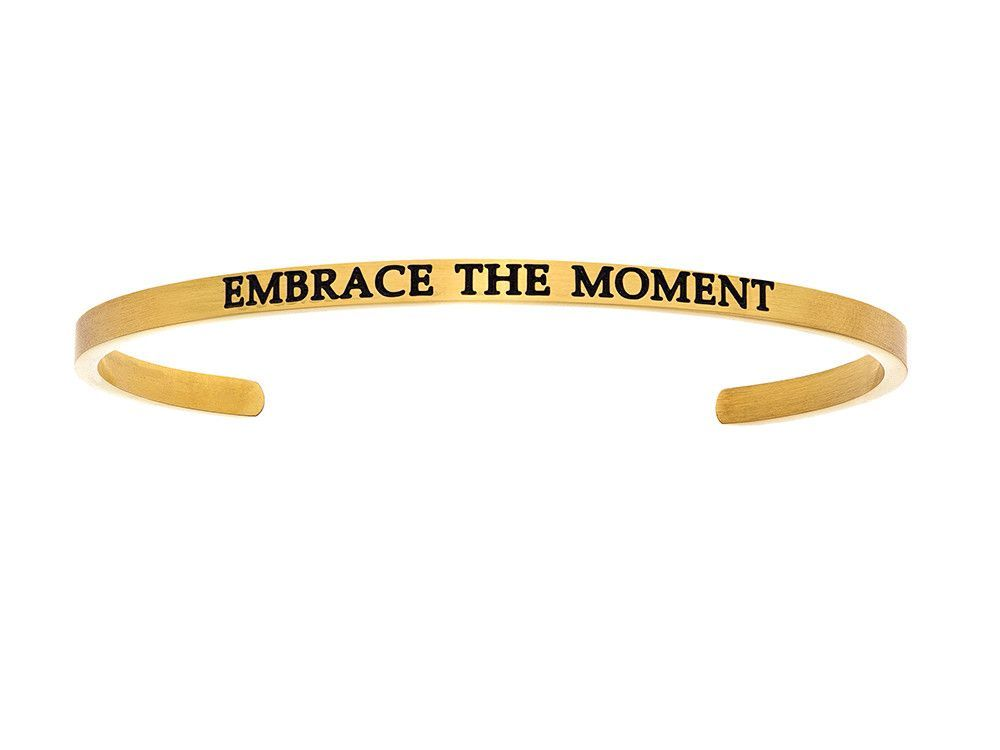 "Intuition Stainless Steel Yellow Finish ""embrace The Moment""Cuff Bangle"