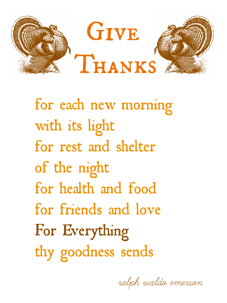 Thanksgiving Printable Give Thanks Ralph Waldo Emerson