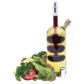 Cruet with spritzer top and cork stopper.   Product: Oil and vinegar cruetConstruction Material: Glass and corkColor: ClearFeatures:  Fill the interior with vinegar and exterior with oil12 Ounce capacity Dimensions: 9 H x 3.25 W x 2.25 D