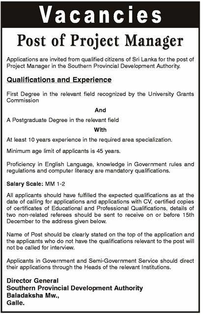 Sri Lankan Government Job Vacancies at Southern Provincial - it project manager job description