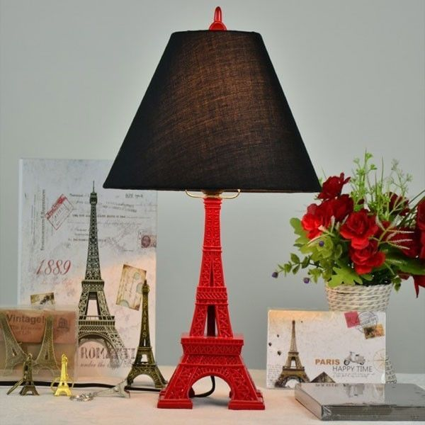Red Eiffel Tower Resin Table Lamp Fabric Shade Home Light Lighting Artscraftsmissionstyle Bedroom Lamps Design
