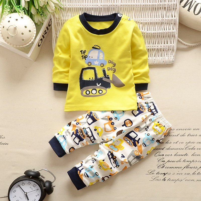 Kids Baby boys clothes cotton long sleeve Tops+Pants daily kids outfits cartoon