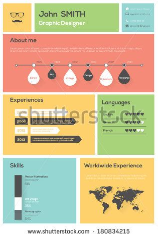 Flat Resume With Infographics And Timeline Vector Illustration - timeline resume