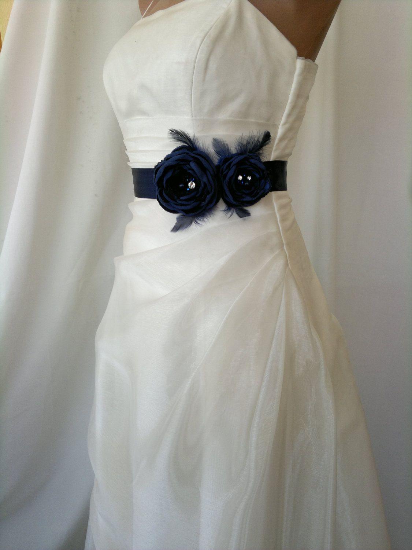 Bridal belt navy bridal sash floral bridal belt sash belt dark