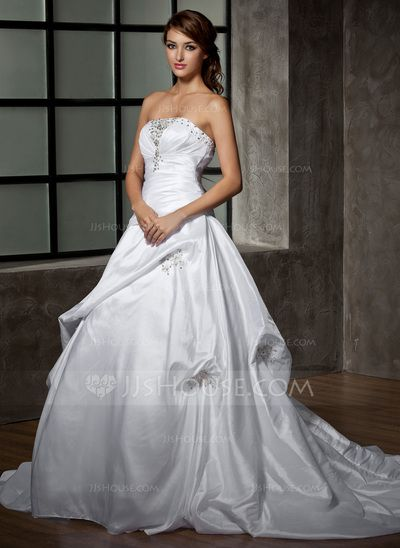 Wedding Dresses - $198.99 - Ball-Gown Strapless Chapel Train Taffeta Wedding Dress With Ruffle Lace Beadwork (002000472) http://jjshouse.com/Ball-Gown-Strapless-Chapel-Train-Taffeta-Wedding-Dress-With-Ruffle-Lace-Beadwork-002000472-g472?pos=your_recent_history_8