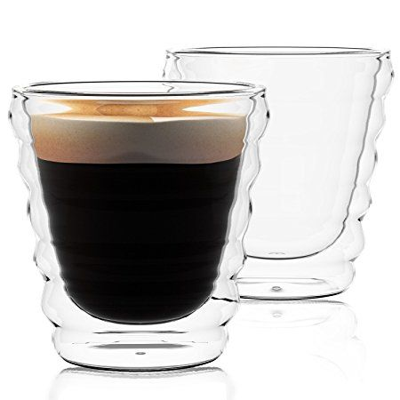 Lovinpro Hand Blown Double Wall Insulated Glass Cups Set Of 2