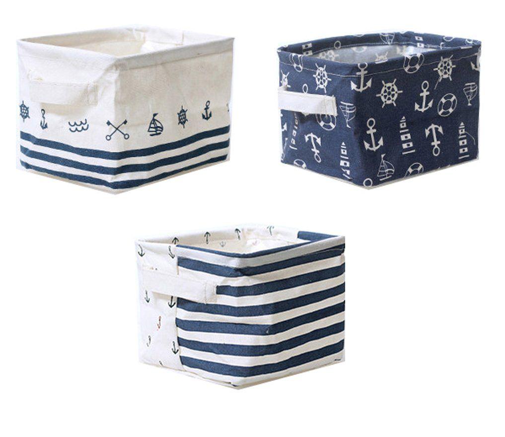 Lannu Nautical Fabric Storage Baskets Bins Cloth Collapsible