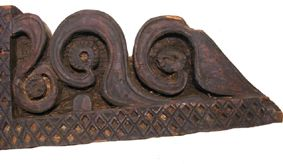 antique Beam with geometric patterns.  Cedar wood.  Nuristan, Eastern Afghanistan.  19th-20th cent.