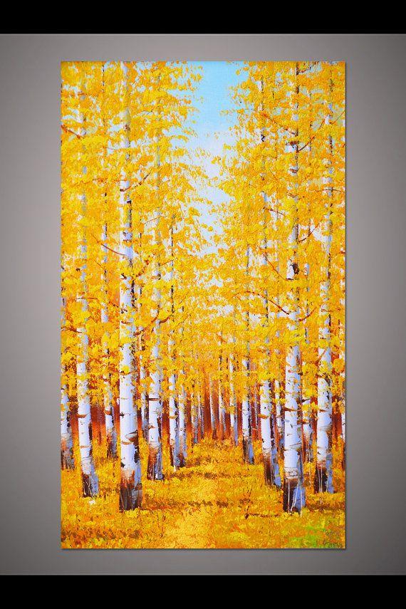 Photo of Große handbemalte Wohnkultur Kunst vertikale gelbe Bräune Birke Wald Herbst Landschaft Baum Dicke Spachtel Ölgemälde auf Leinwand von Lisa