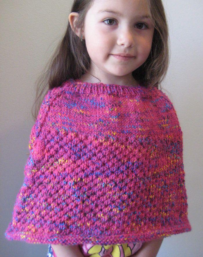 Free Knitting Pattern for Cellular Stitch Kids\' Poncho - Lace poncho ...