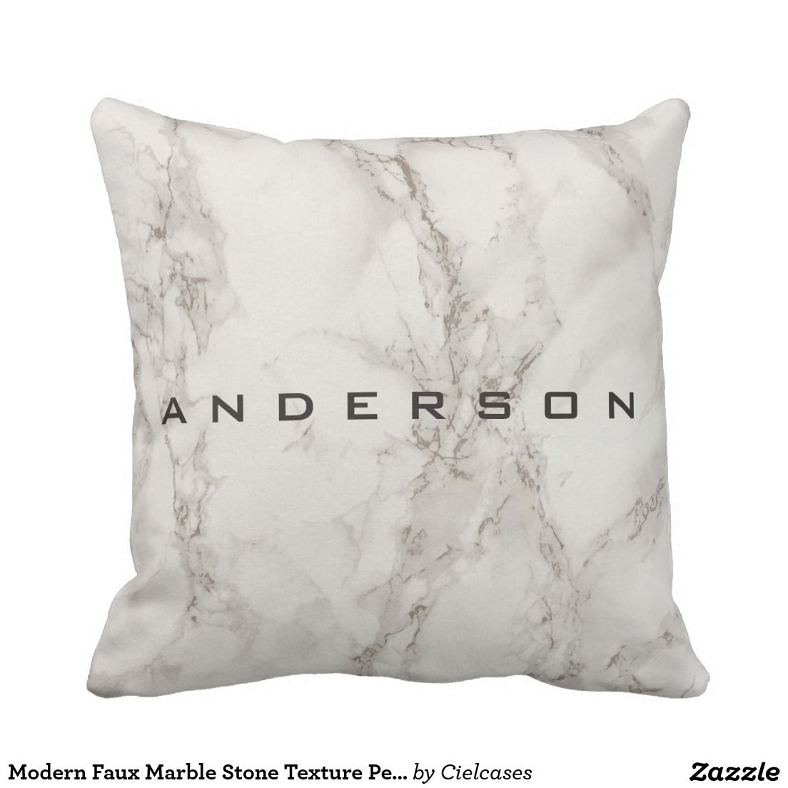 Faux Marble Stone Texture Personalized Throw Pillow