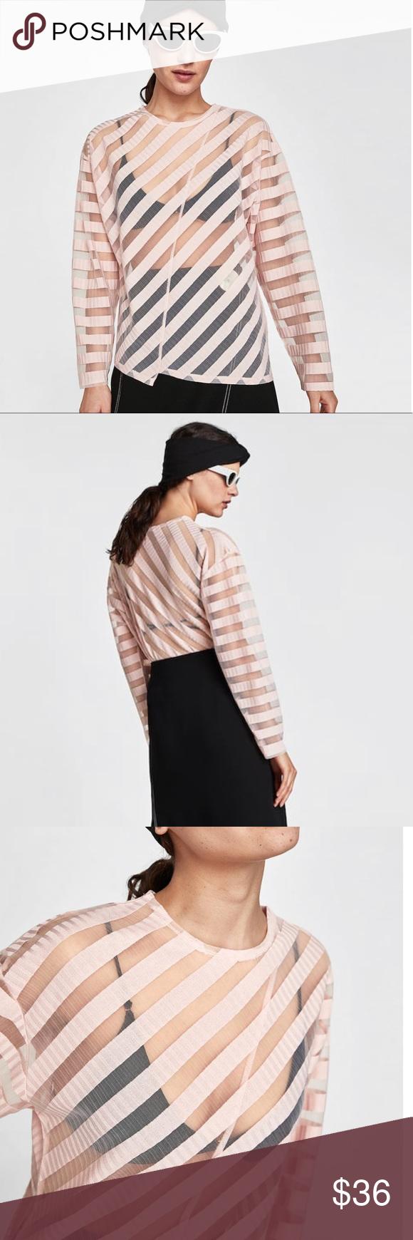 ec812186078e Zara Sheer T-Shirt With Stripes - NWT Zara round neck, long sleeve sheer t- shirt with stripes. 98% Polyester, 2% Elastane Color: light blush pink  Size: ...