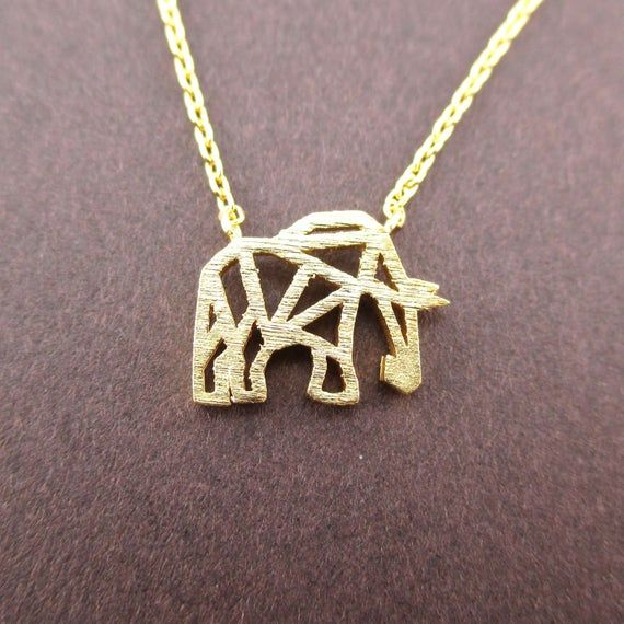 Elephant Mammoth Outline Cut Out Shaped Charm Necklace in Gold | Minimalistic Handmade Animal Jewelry #elephantitems