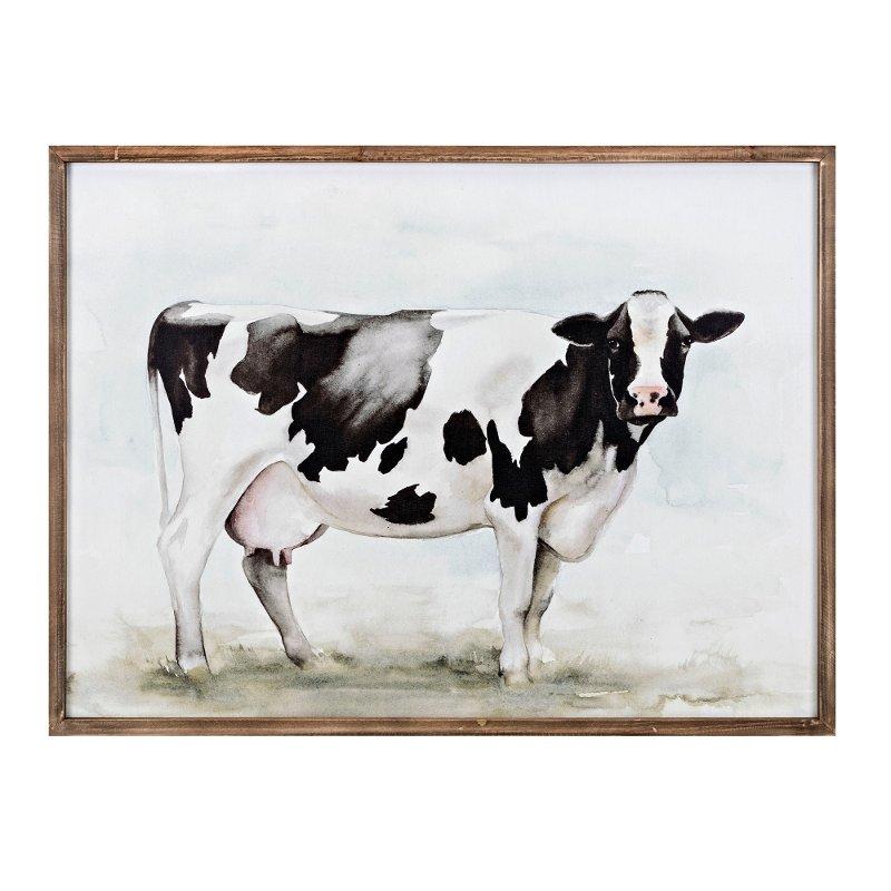 Mildred Cow Framed Wall Art Cow Wall Decor Farmhouse Wall Art Silver Wall Art