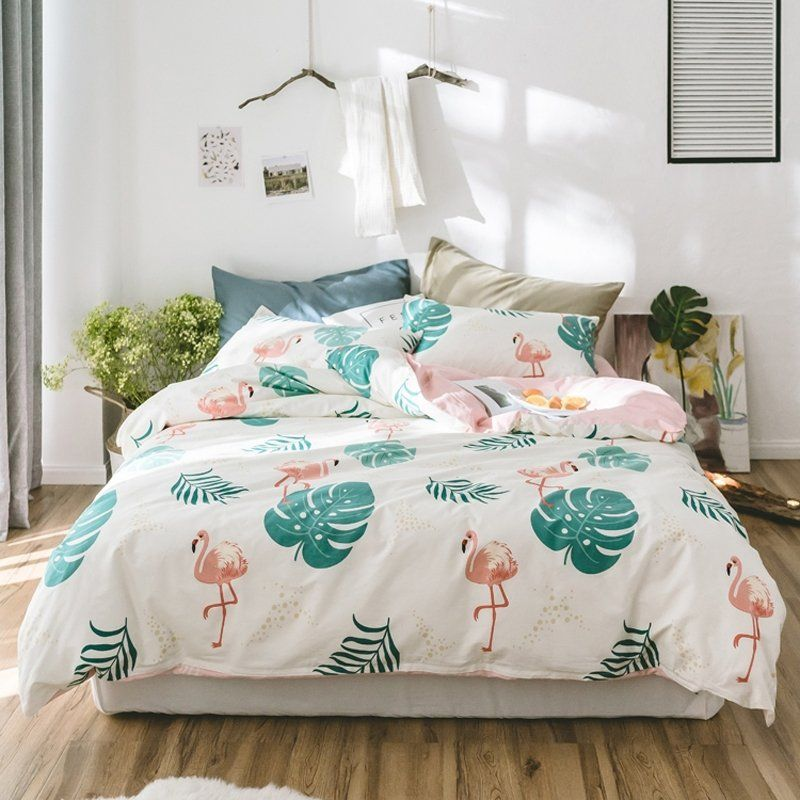 Teal Green White And Coral Pink Fun Tropical Flamingo Hawaiian Leaf Print Animal Themed Girls T Twin Bedroom Sets Apartment Bedding Twin Bedroom Furniture Sets
