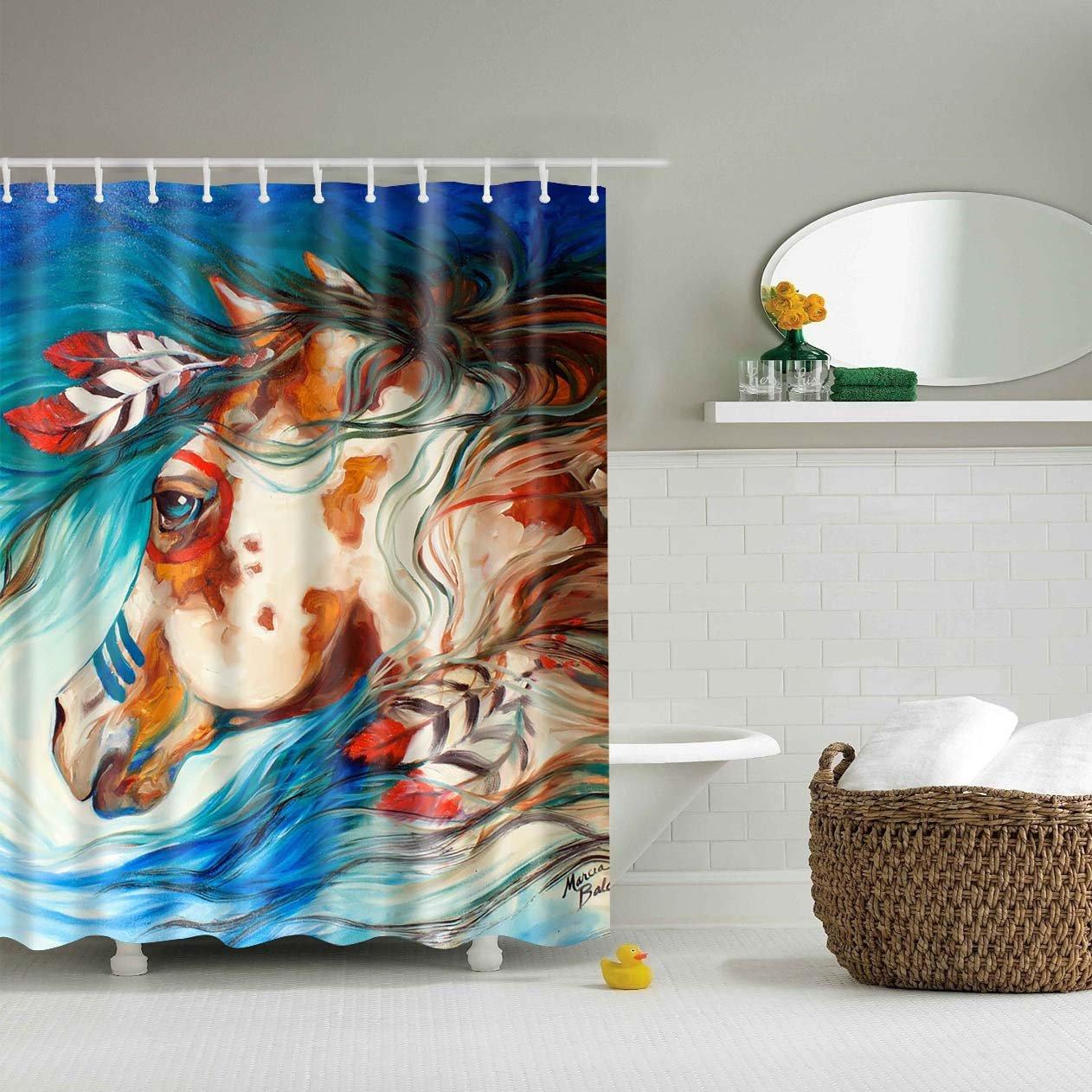 Native American Indians Horses Art Shower Curtain Bathroom Decor
