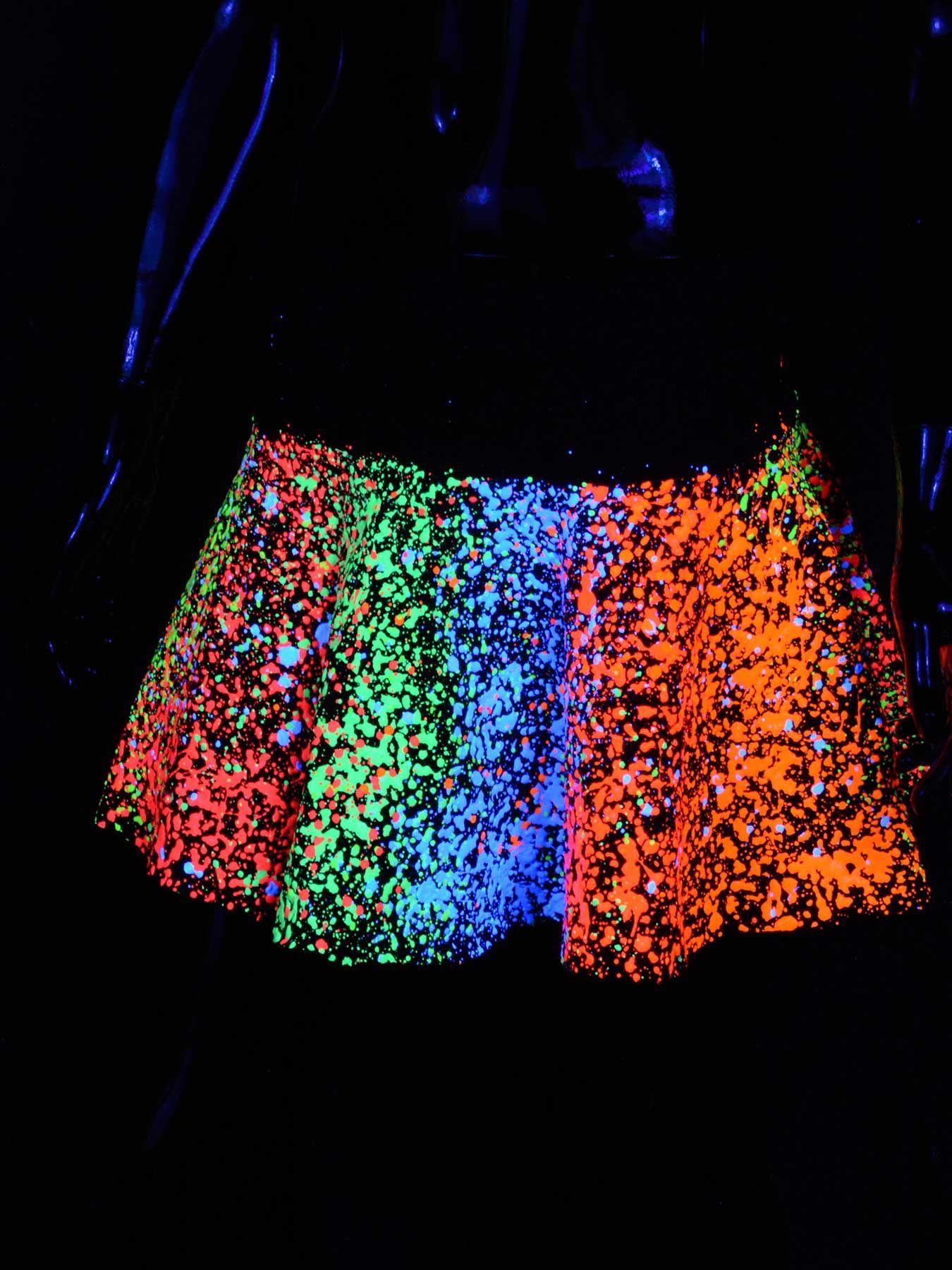"Schwarzlicht Rock Neon ""MULTI SPLAT SKATER"" #blacklight #schwarzlicht #neon #party #psy #clothing #couchuk"