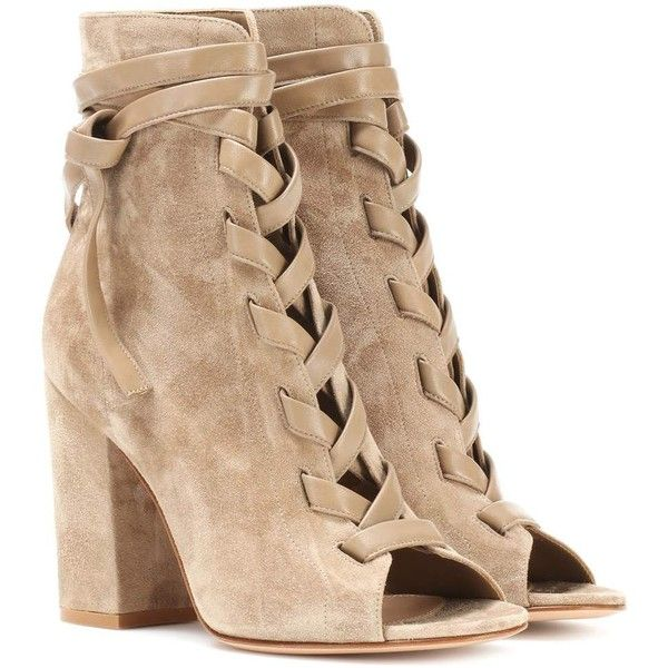 b5bd6e92ca45 Gianvito Rossi Brooklyn Open-Toe Suede Ankle Boots (1 525 AUD) ❤ liked