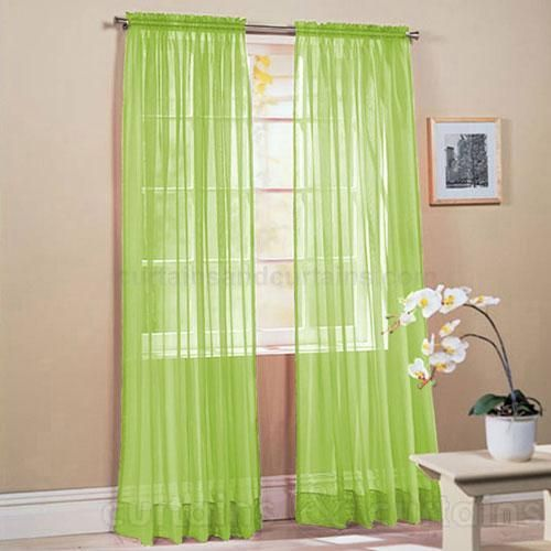 Lime Green Kitchen Curtains: Lime Green Slot Top Voile Net Curtain Panel