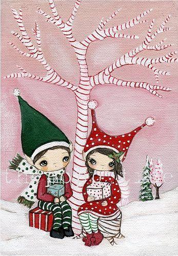 Christmas Elves Christmas Elf Vintage Christmas Cards Christmas Love