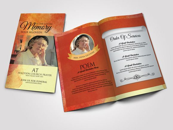 Funeral Program Bifold Template By Psd Templates On Creative Market