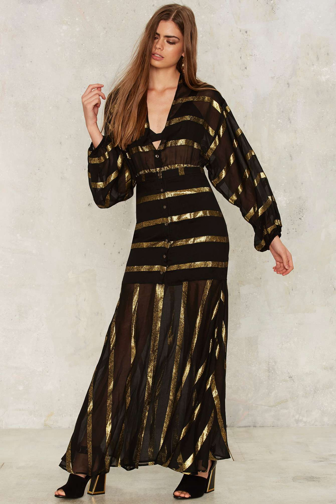 Nasty Gal Stripe Through Me Chiffon Dress   Shop Clothes at Nasty Gal!
