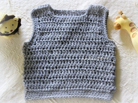Baby Boy Pullover Vest, Crochet Pattern, Size 3-6 Months, Easy to ...