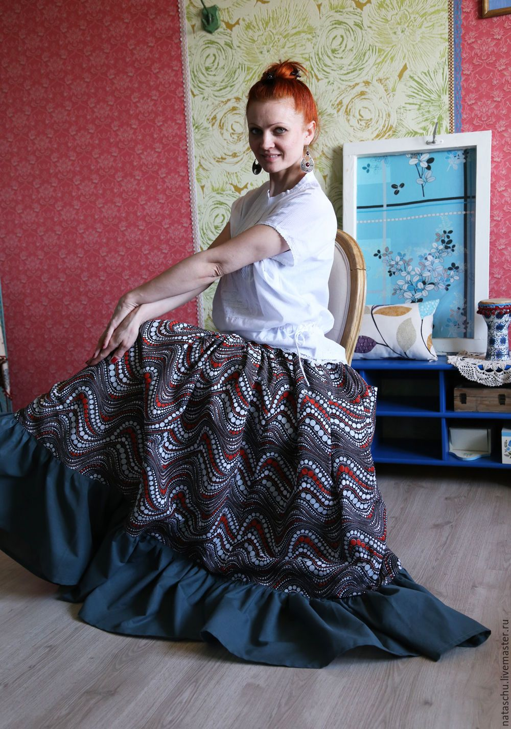 Летняя юбка комбинированная