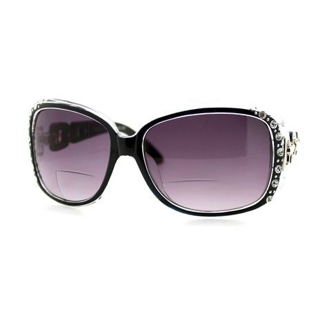 e9ed25b0a6d Womens Bifocal Lens Sunglasses Oversized Square Rhinestone Frame Black +2.50