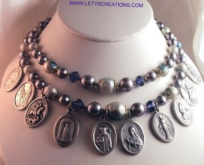 Vintage Necklace with Catholic Religious Medals www.letyscreations.com