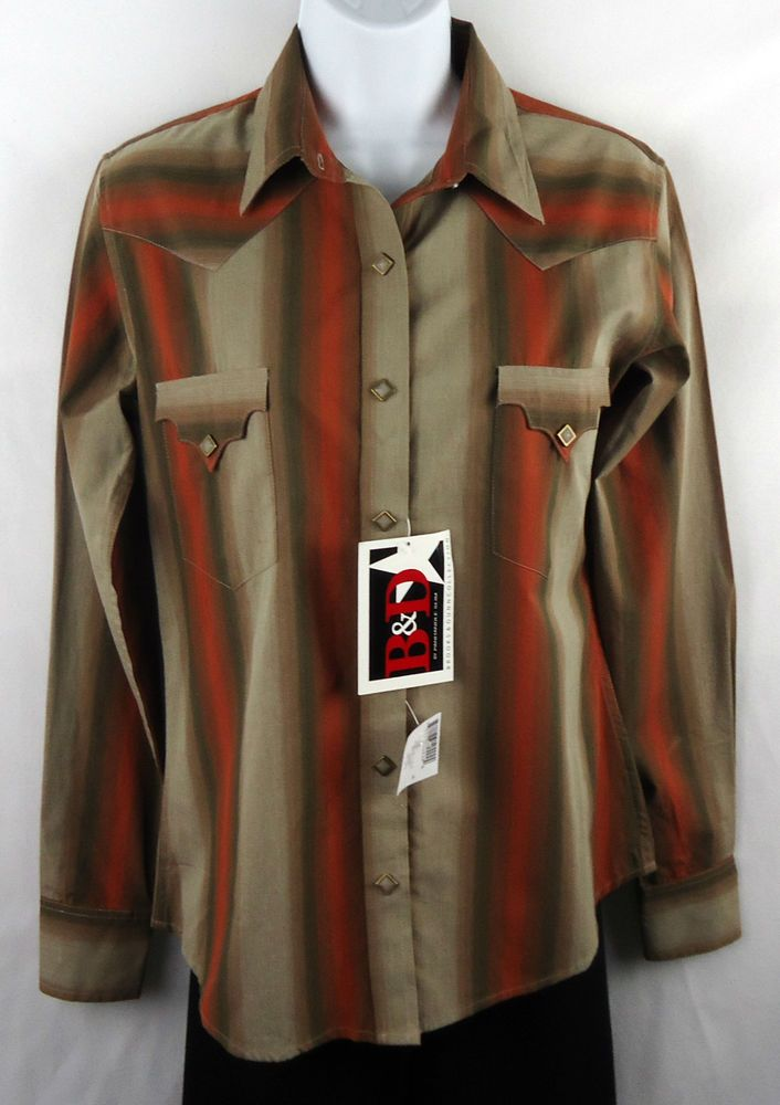 NWT Brooks & Dunn Collection Western Shirt Women's Small-Taupe/Rust (#234) #PanhandleSlim #Western #Casual