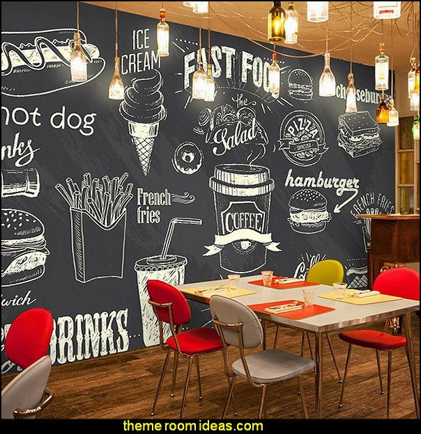 Blackboard wallpaper murals food wallpaper murals bistro for Mural coffee shop