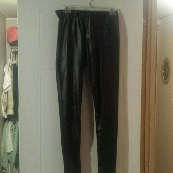New leather look leggings Brand new with tags leather-looking leggings Pants Leggings