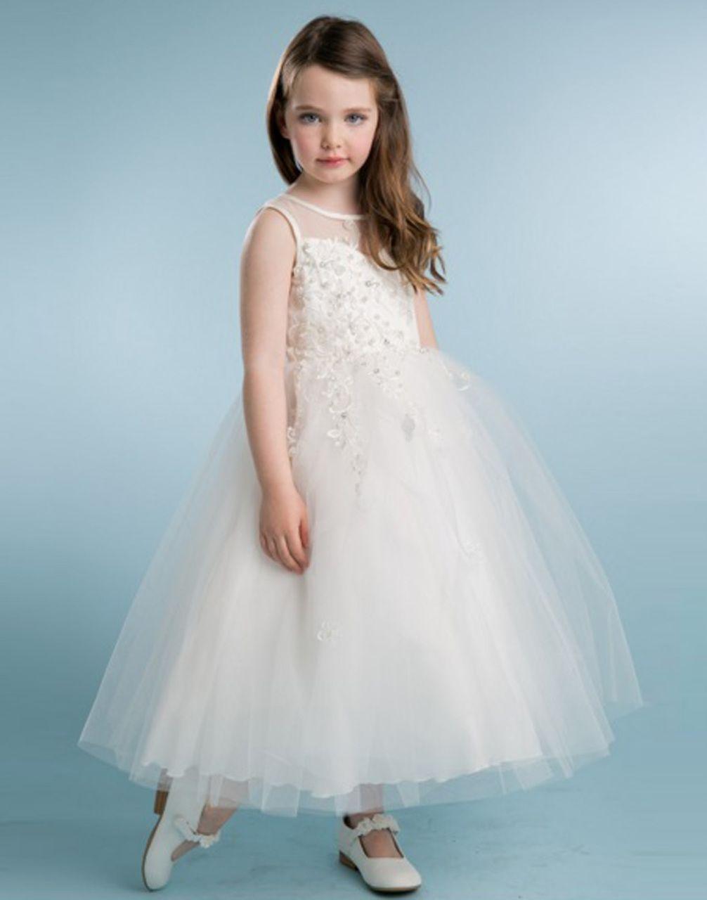 Dazzling ivory floral beaded tulle flower girl dress