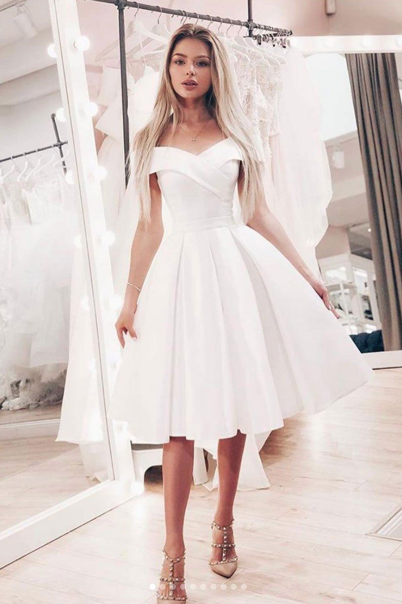 Simple A Line Off The Shoulder Open Back White Satin Short Prom Dresses With Pockets Cocktail Party Dresses Knee Length Wedding Dress White Bridesmaid Dresses Wedding Dresses Simple [ 1190 x 793 Pixel ]