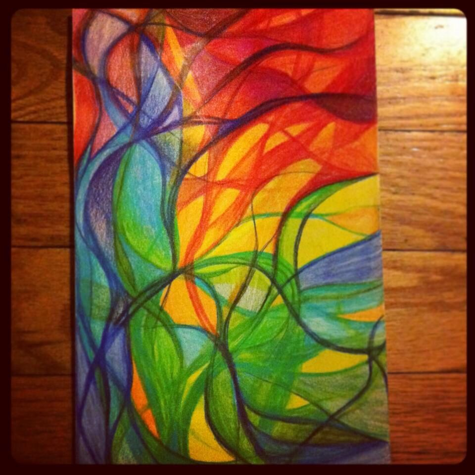 Colored pencil drawing abstract art colorful flowing