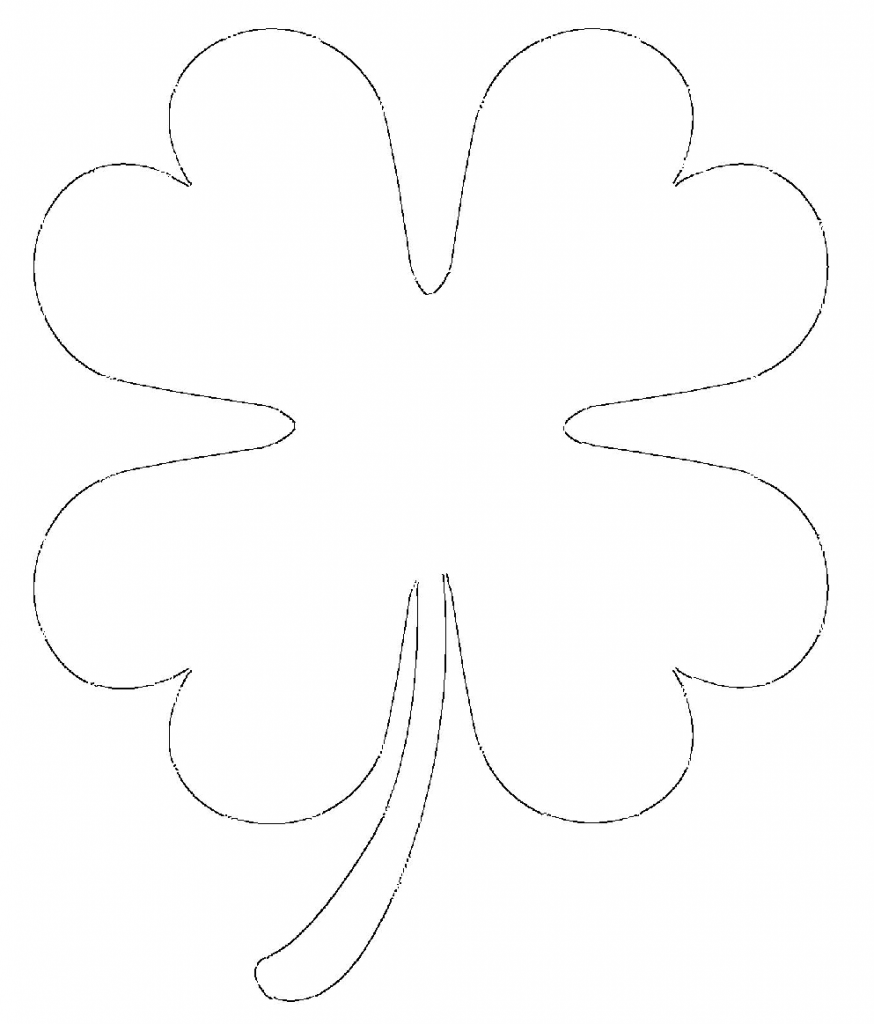 Free printable four leaf clover templates large small for Small heart template to print