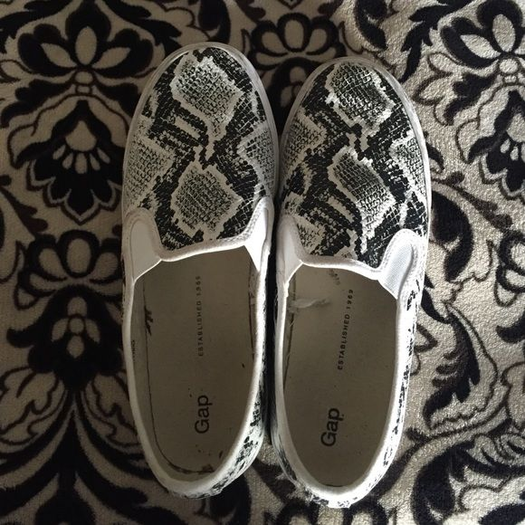 Snakeskin Gap Slip Ons Great shoe! Super great as summer approaches. No trades. Negotiation is open. Ask questions GAP Shoes Sneakers