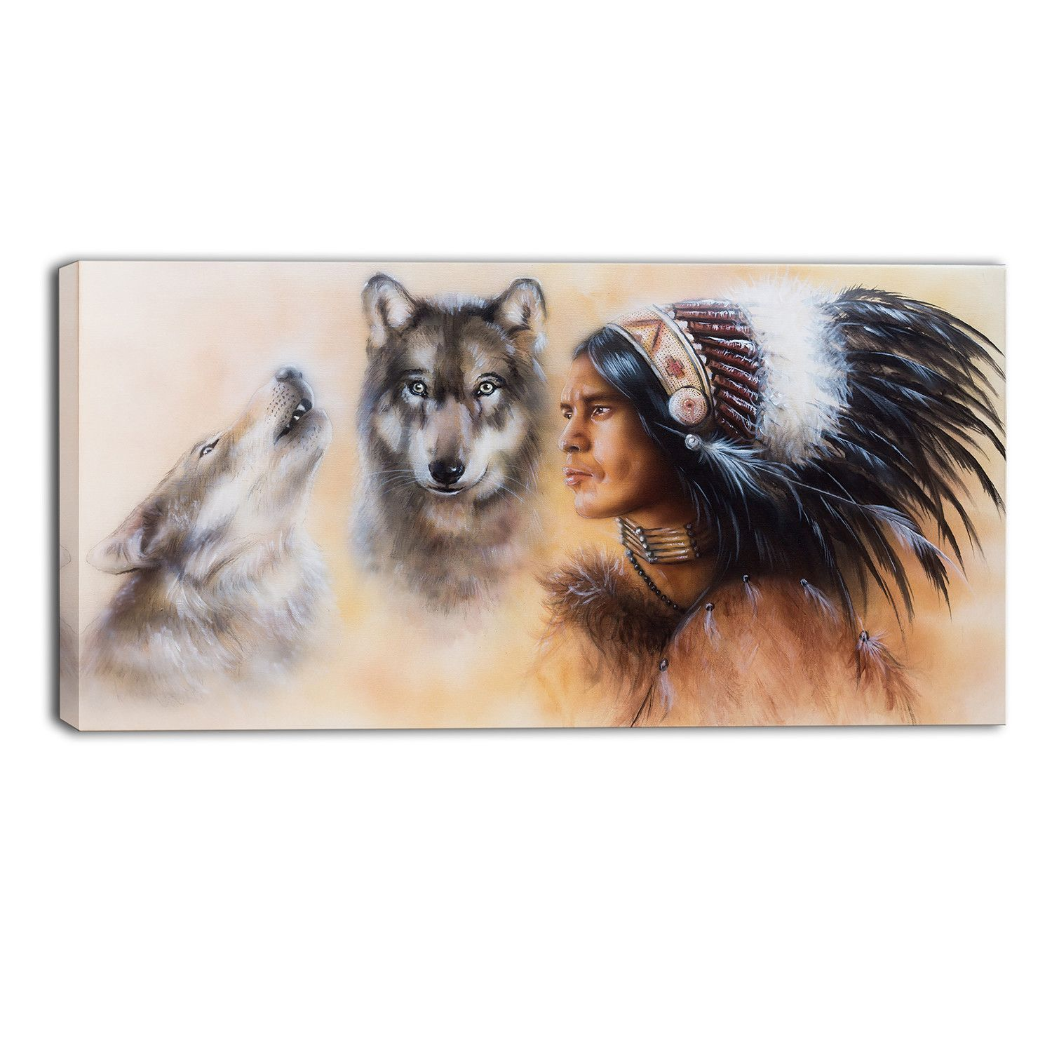 Indian Warrior with Two Wolves Animal Painting Print on Wrapped Canvas