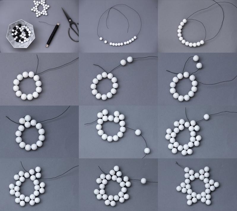 Holzkugel Sterne basteln & Schneeflocken Geschenkanhänger aus Bügelperlen / Hama Perlen #fooddiy