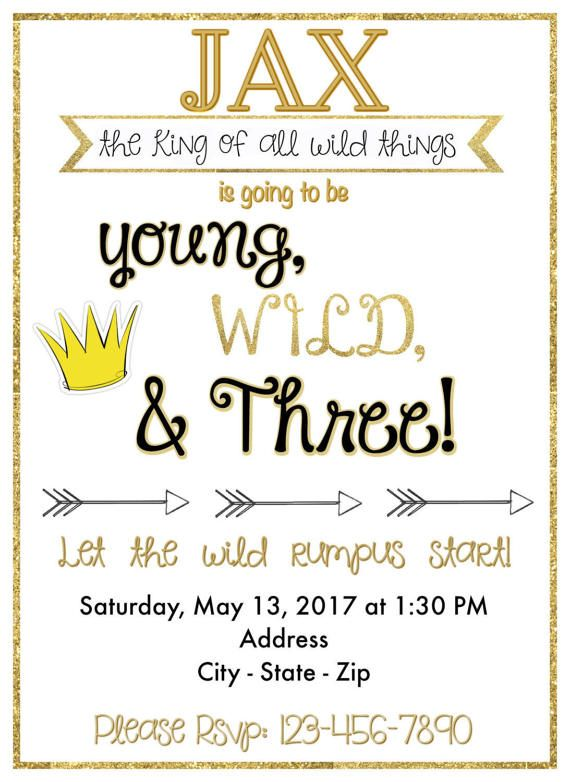 Young Wild Three Birthday Invitation Third Boys Happy Me