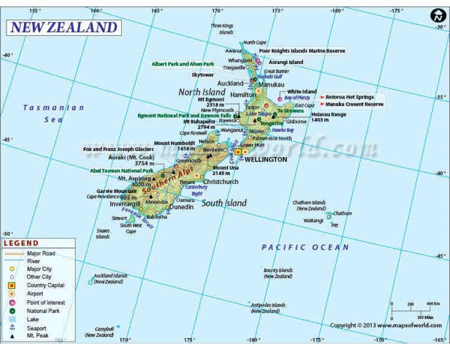 Buy New Zealand Map Online Country Maps Pinterest Country Maps - Latitude of nz